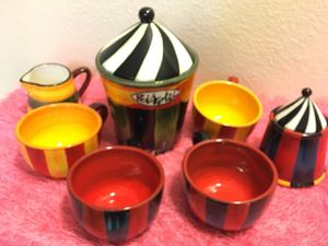 Ceramic Circus Coffee Cup and Storage Set for Sale in San Diego, CA