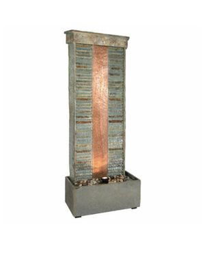 Sunnydaze Rippled Slate Indoor/Outdoor Water Fountain with Copper Accents and LED Spotlight, 48 Inch Tall for Sale in Dublin, OH