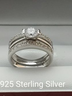 New with tag Solid 925 Sterling Silver ENGAGEMENT WEDDING Ring Set size 5/6/7/8/9 or 10 $150 set OR BEST OFFER ** FREE DELIVERY!!! 📦🚚 ** for Sale in Phoenix,  AZ