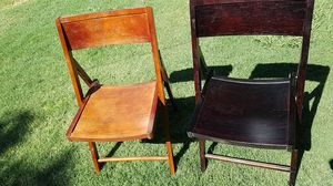 4 black wooden chairs and 4 dark redwood chairs for Sale in Stockton, CA