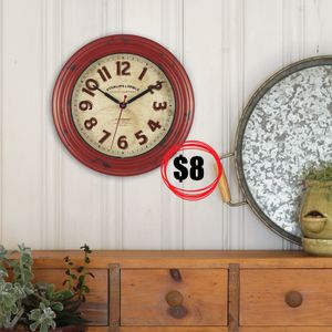 "NEW Rustic red 12"" diameter Clock Wall decor Brand new - Pick up in Goleta near Wendy's for Sale in Isla Vista, CA"