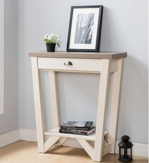 1-Drawer Wood Console Table in Ivory and Light Oak for Sale in Chino, CA