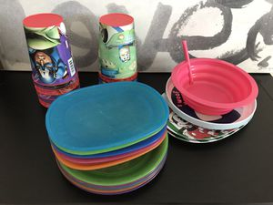 Huge Lot of 25 pc Kids plastic tableware Items Ikea childrens for Sale in Alexandria, VA