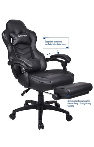 ELECWISH Ergonomic Computer Gaming Chair, PU Leather High Back Office Racing Chairs with Widen Thicken Seat and Retractable Footrest and Lumbar Suppo for Sale in Rialto, CA