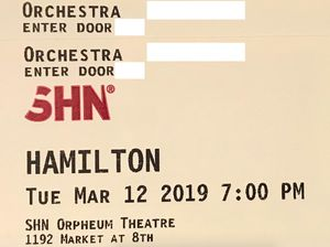 HAMILTON Tickets - Orchestra/$210 FACE VALUE for Sale in San Francisco, CA