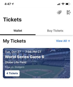 WORLD SERIES GAME 6 TICKETS RAYS DODGERS SKY BOX for Sale in Dallas, TX