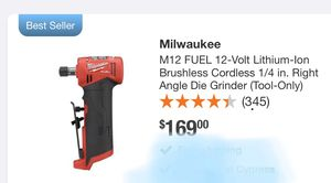 Milwaukee 1/4 in. Right Angel Die Grinder M12 Fuel 12V Lithium Ion for Sale in Midway City, CA