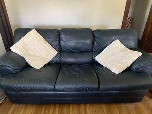 Navy blue leather couch for Sale in Buffalo, NY