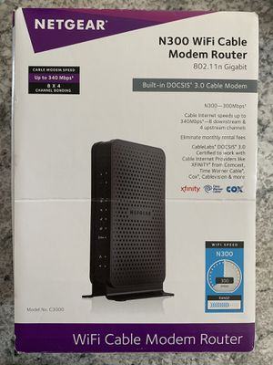NETGEAR N300 Wifi Cable Modem Router (C3000100NAS) for Sale in Middle River, MD