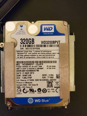 Used WD BLUE 320 GIG SATA HARD DRIVE for Sale in New Braunfels, TX