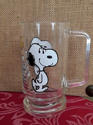 "$18 Collectible Snoopy Mug Glass Cup "" Too Much Root Beer "" from 1965 for Sale in Hemet, CA"