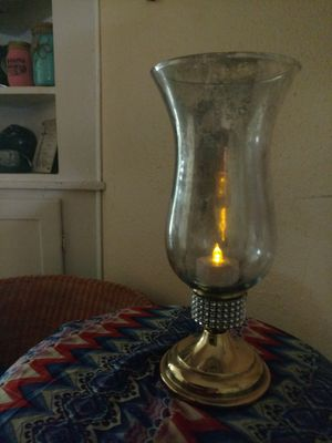 Vintage brass candle holder with Mercury glass inspired globe for Sale in Lake Hamilton, AR