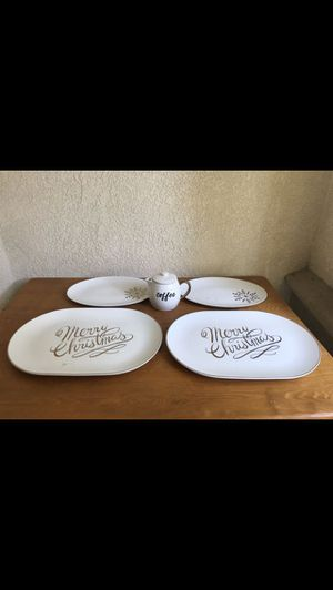 Large Serving plates and tea/coffee carafe 5 piece set for $35 all BRAND NEW- MEET UP NORTHRIDGE 91326 for Sale in Los Angeles, CA