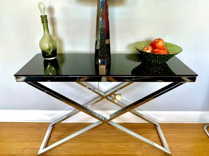 Glam smoked glass console table with chrome base for Sale in Chicago, IL