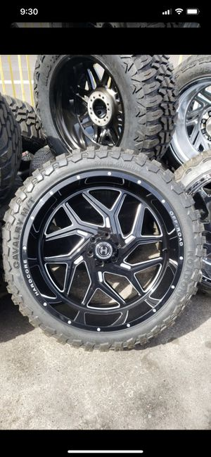 26x12 black hardcore rims 6 lug 6x139 whit New MUD tires 37 1350 26 for Sale in Phoenix, AZ