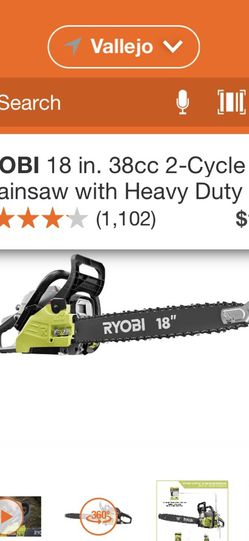 RYOBI 18 INCHES CHAINSAW 2 CICLE GAS 38 CC WITH HEAVY DUTY CASE BRAND NEW for Sale in Vallejo,  CA