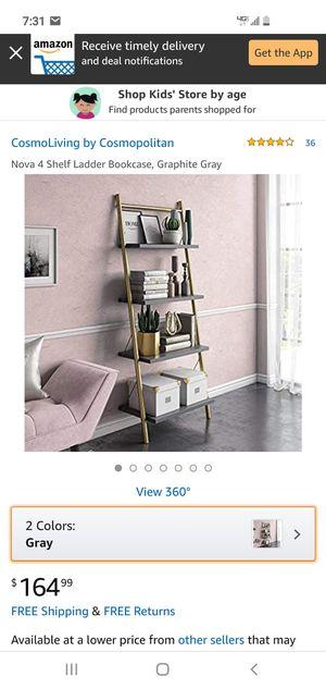4 Shelf Gray/Gold Ladder Bookcase for Sale in Phoenix, AZ
