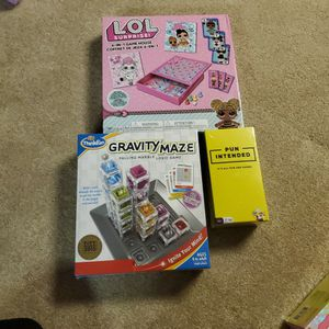 3 Board Games. Never Opened. 1. LOL SUPRISE 6 In 1 Game House, GRAVITY MAZE, and PUN INTENDED for Sale in Linthicum Heights, MD