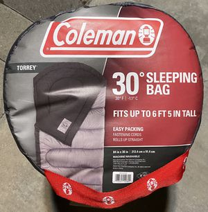 Brand New in Bag! Coleman Torrey 30 Degree Big and Tall sleeping Bag Grey and Black for Sale in Chino Hills, CA