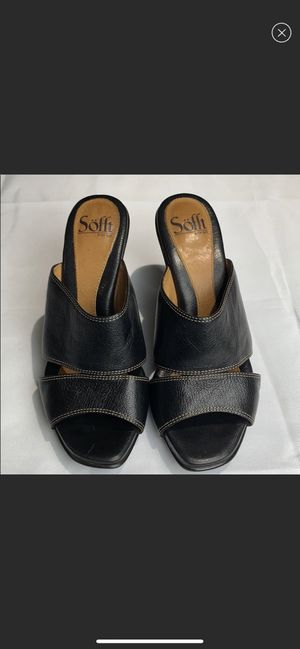 Söfft Black Leather Slip-on Sandal Heels Size 7 for Sale in Vancouver, WA