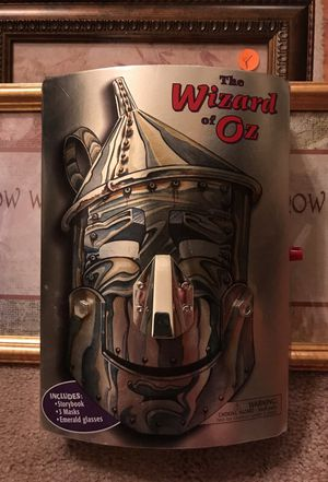 Wizard of Oz collectors item with glasses three masks and book in tin man box collectible for Sale in Tampa, FL