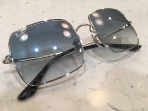 Ray Ban Sunglasses Square Frames Silver with Blue lenses. Made in Italy. for Sale in Long Beach, CA
