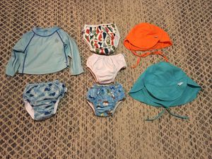 Baby and toddler reusable swim diapers, swim shirt, sun hats for Sale in South Pasadena, CA