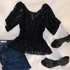 Black lace top women's fashion size S dress top for Sale in Tacoma, WA