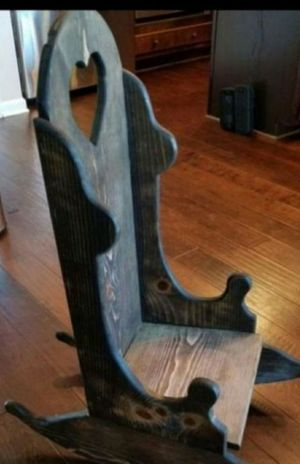 Heavy Child Antique Wood Chair with Heart Shaped High Back - 45.00 for Sale in Taylors, SC