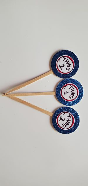 24 Thing 1 thing 2 cupcake toppers birthday party Favors supplies blue glitter for Sale in Los Angeles, CA