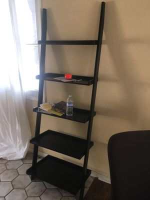 Black ladder shelf rack & 8ft tall black wood bookcase for Sale in Anaheim, CA