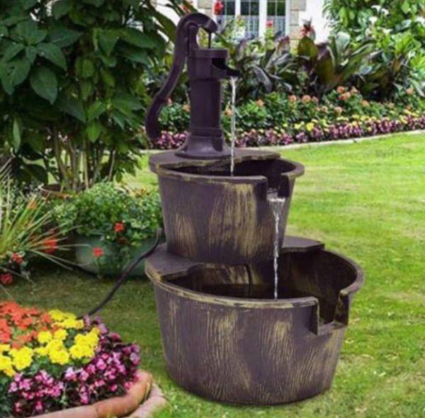 Waterfall Fountain Barrel 2 Tier With Pump Backyard Garden Bronze Color Water Recirculation System