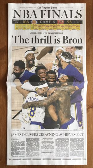 (2 COPIES AVAILABLE) LOS ANGELES TIMES: LAKERS WIN 2020 NBA CHAMPIONSHIP for Sale in Compton, CA