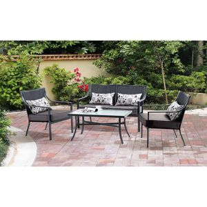 4-pc outdoor patio furniture seating grey black for Sale in Anaheim, CA
