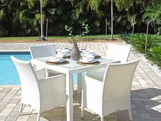 Modern Designer Patio Furniture - White PE Wicker Rattan Dining Table and Chairs for 4 for Sale in Miami Shores, FL