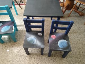 chalkboard top Kids toddler table with two chairs for Sale in Orlando, FL
