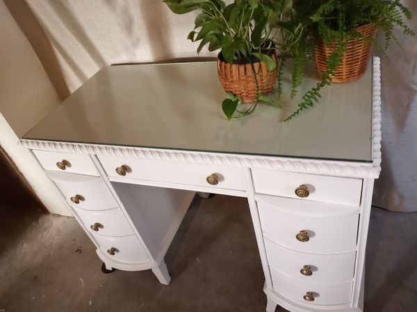 Vintage Desk With Glass Top