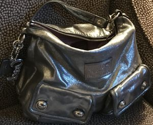 AUTHENTIC COACH POPPY HANDBAG MEDIUM SIZE SHINY SILER COLOR. Very pretty! for Sale in West Chicago, IL