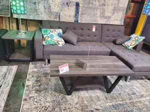 2-Piece Coffee Table and End Table, Distressed Grey and Black for Sale in Huntington Beach, CA