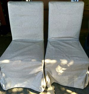 """#100413 Pair of Grey Woven Slip Cover Dining Chair 21.5"""" Wide x 27"""" Deep x 39"""" Tall for Sale in Oakland, CA"""