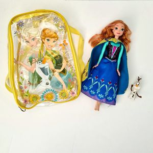 Disney Frozen bundle: Anna Doll, Olaf Hasbro toy & kids clear backpack for Sale in St. Petersburg, FL