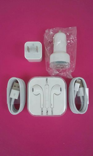 Apple Combo Bundle/Brand New Original Apple IPhone Charger and Car Charger and Headphones for IPhone 1,2,3,4,5 and 6 for Sale in Lincoln Acres, CA