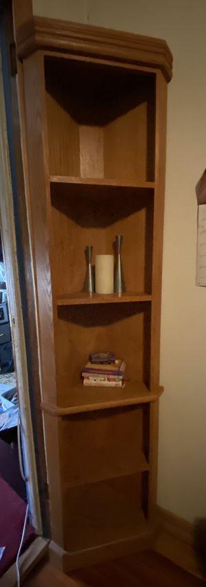 Corner wood book shelf for Sale in Staten Island, NY