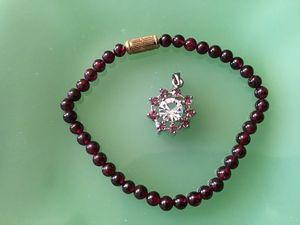 Garnet Bracelet/CZ Pendant for Sale in Sierra Vista, AZ