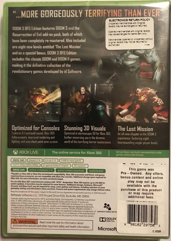 Doom 3 XBOX 360 XBOX ONE for Sale in Fort Worth, TX - OfferUp