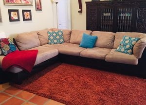 Tan Microfiber Sleeper Sectional for Sale in Boca Raton, FL