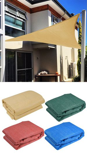 (NEW) $25 each 16.5' Triangle Sun Shade Sail Outdoor Canopy Patio Cover (Tan, Red, Green, Blue) for Sale in Pico Rivera, CA