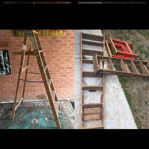 3 wooden ladders and saw horses for Sale in Denver, CO