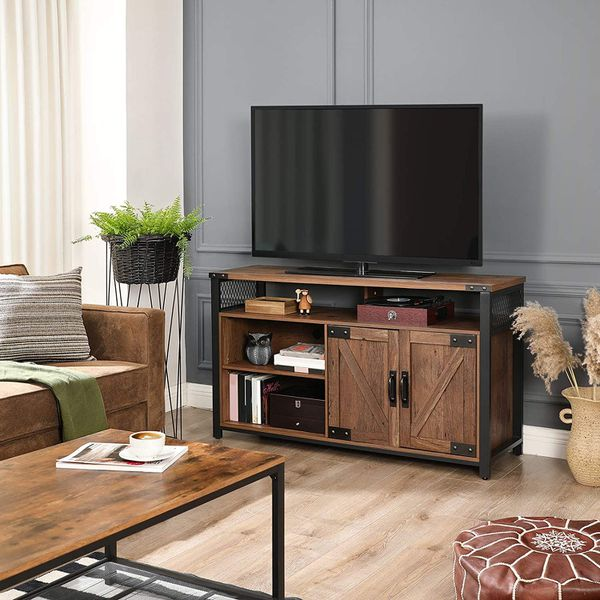 TV Stand for 55-Inch TV with Barn Doors Hazelnut Brown and Black