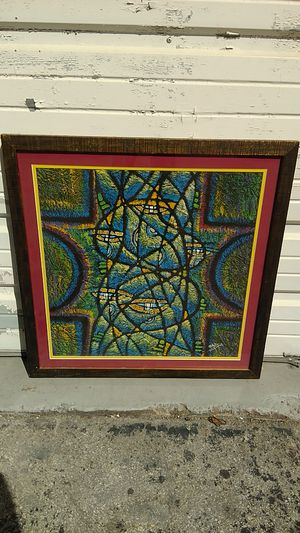 Unusual Original Mixed Media Signed Painting for Sale in Hialeah, FL